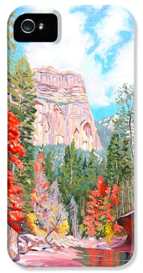 Sedona IPhone 5 Case featuring the painting West Fork - Sedona by Steve Simon