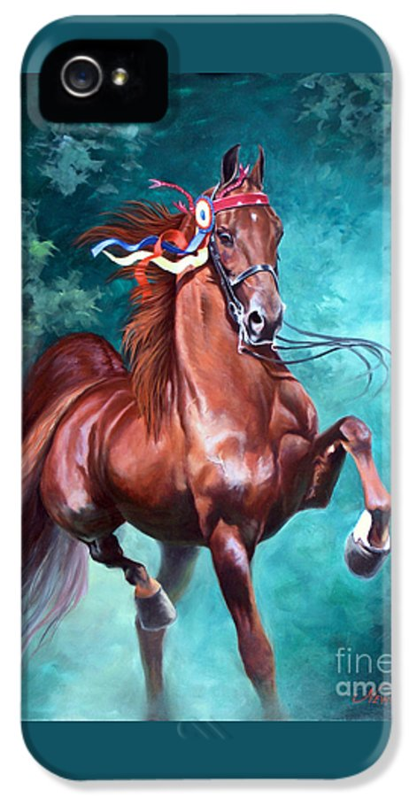 Horse IPhone 5 Case featuring the painting Wgc Courageous Lord by Jeanne Newton Schoborg