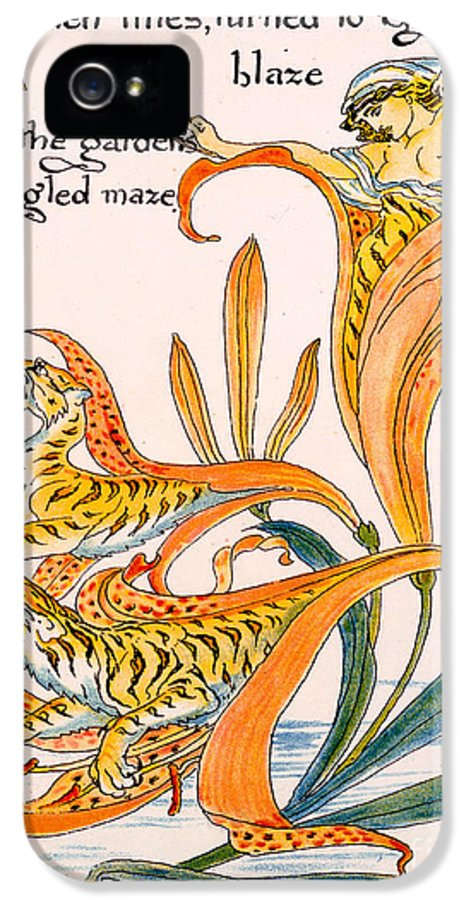 Illustration IPhone 5 Case featuring the painting When Lilies Turned To Tiger Blaze by Walter Crane