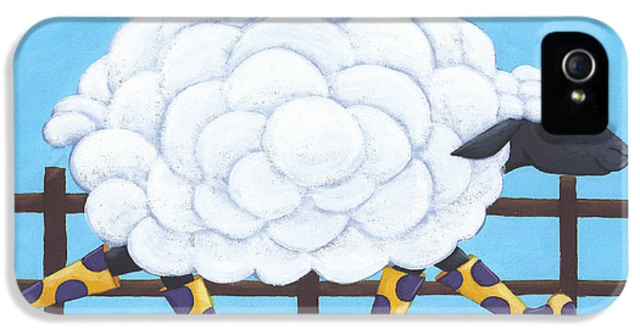 Sheep IPhone 5 Case featuring the painting Whimsical Sheep Art by Christy Beckwith