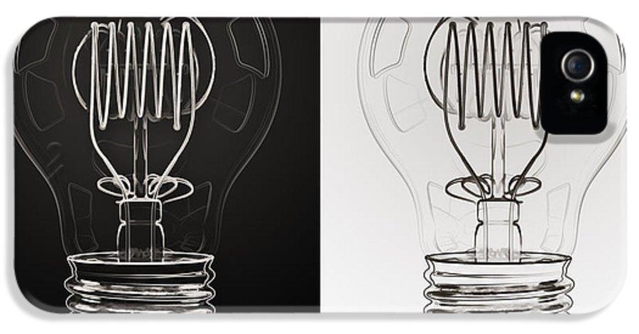 Bulb IPhone 5 / 5s Case featuring the digital art White Bulb Black Bulb by Scott Norris