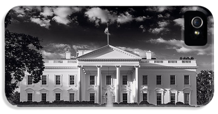 White IPhone 5 Case featuring the photograph White House Sunrise B W by Steve Gadomski