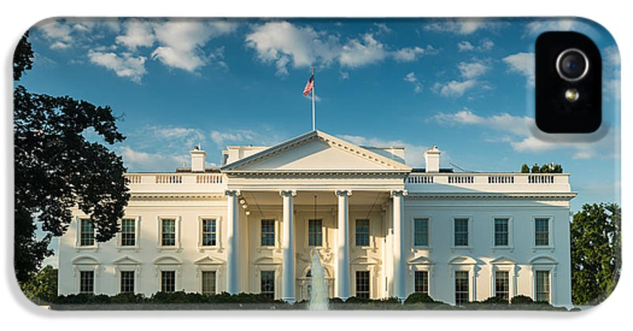 White IPhone 5 Case featuring the photograph White House Sunrise by Steve Gadomski