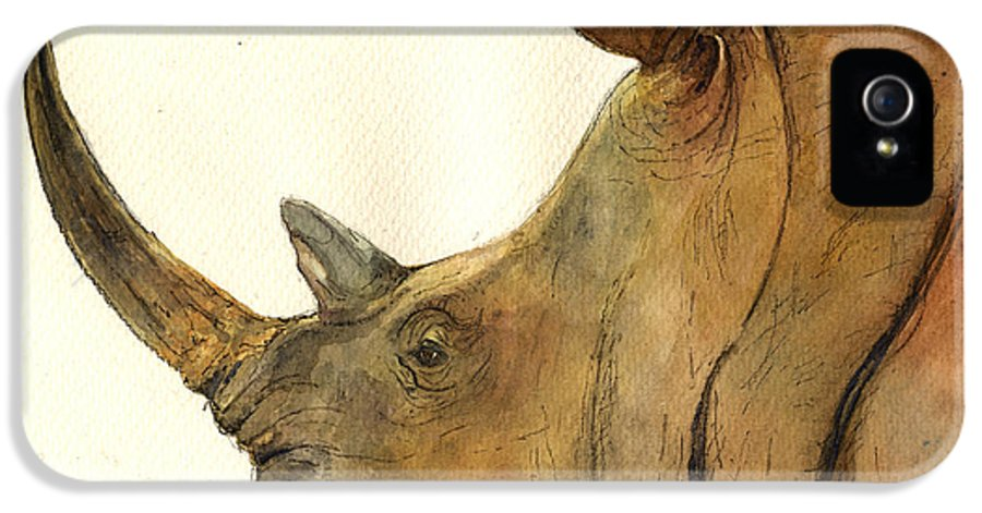 White IPhone 5 Case featuring the painting White Rhino Head Study by Juan Bosco