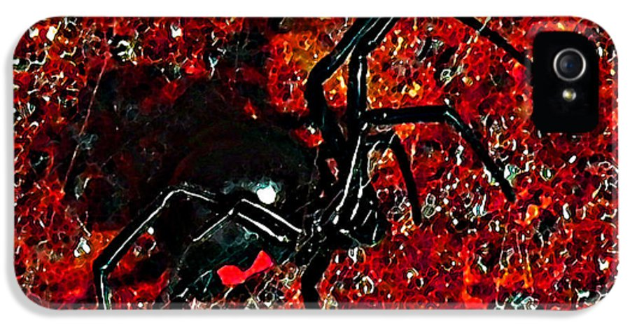 Black Widow Spider IPhone 5 Case featuring the photograph Wicked Widow - Rouge by Al Powell Photography USA