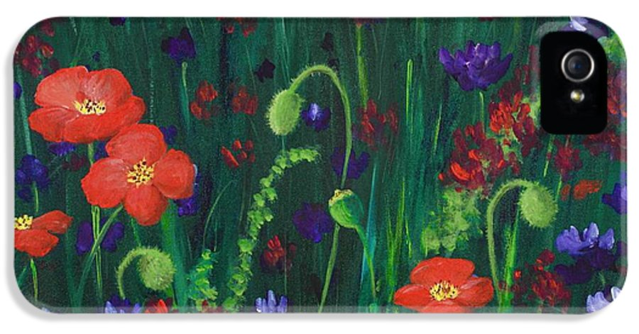 Wildflowers IPhone 5 Case featuring the painting Wild Poppies by Anastasiya Malakhova