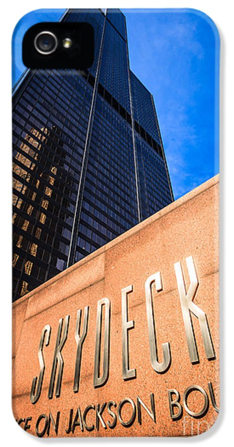 Chicago IPhone 5 Case featuring the photograph Willis-sears Tower Skydeck Sign by Paul Velgos