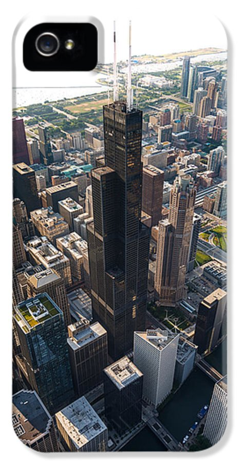 Chicago IPhone 5 Case featuring the photograph Willis Tower Chicago Aloft by Steve Gadomski