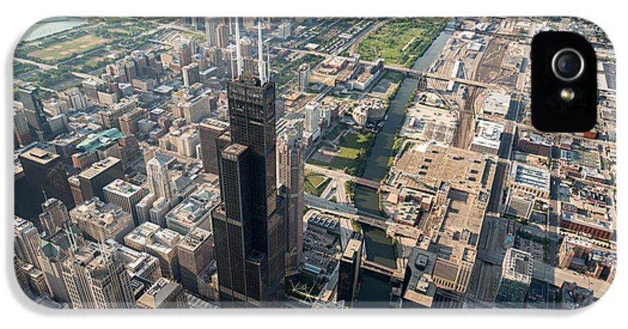 Chicago IPhone 5 Case featuring the photograph Willis Tower Southwest Chicago Aloft by Steve Gadomski