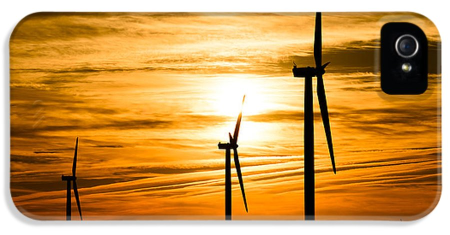 America IPhone 5 Case featuring the photograph Wind Turbine Farm Picture Indiana Sunrise by Paul Velgos