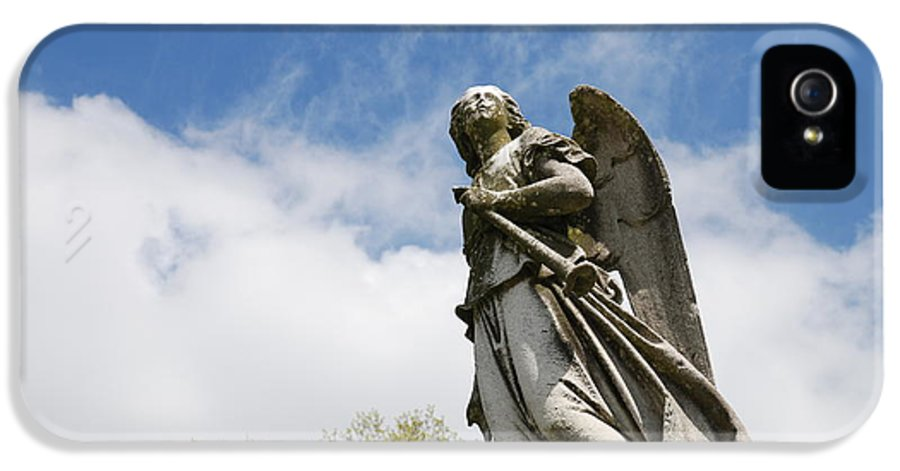 Cemetery IPhone 5 Case featuring the photograph Winged Angel by Jennifer Ancker