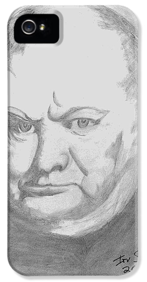 Winston Churchill Prime Minster Of England World War 2 IPhone 5 Case featuring the drawing Winston by Irving Starr