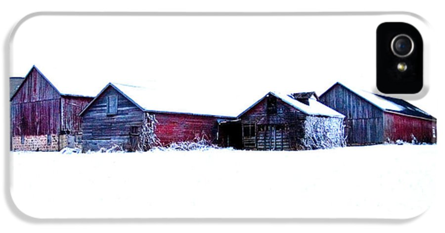 Barns IPhone 5 Case featuring the photograph Winter Barns by Jeff Klingler