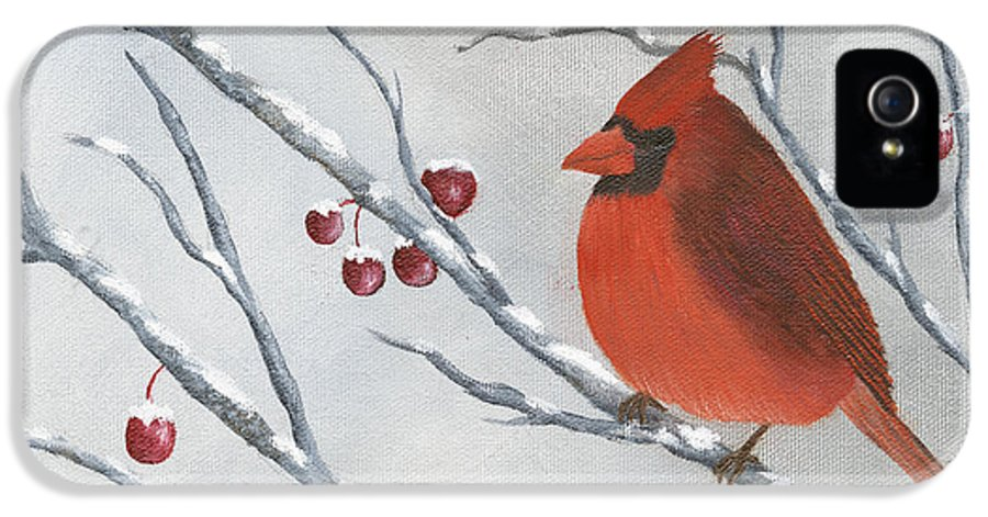 Winter IPhone 5 Case featuring the painting Winter Cardinal by Peter Miles