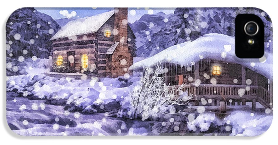 Winter Creek IPhone 5 Case featuring the painting Winter Creek by Mo T