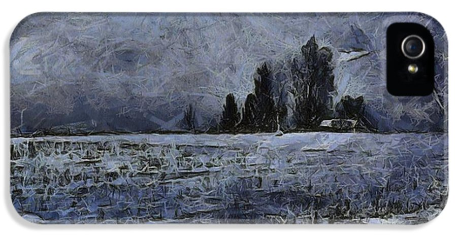 Winter Day IPhone 5 Case featuring the painting Winter Day by Dan Sproul