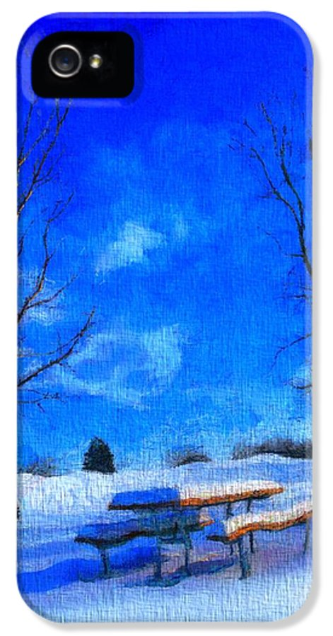 Winter Day On Canvas IPhone 5 Case featuring the painting Winter Day On Canvas by Dan Sproul