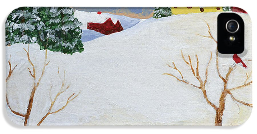 Landscape IPhone 5 Case featuring the painting Winter Farm by Bryan Penzer