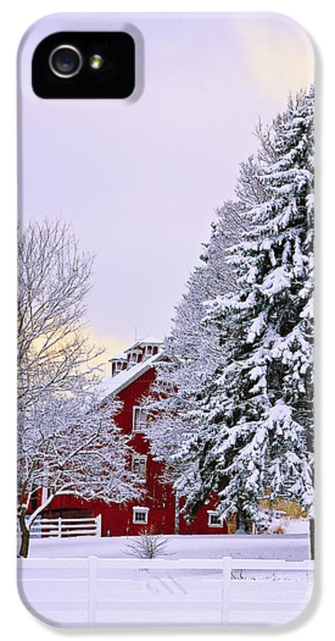 Barn IPhone 5 Case featuring the photograph Winter Farm Scene by Timothy Flanigan