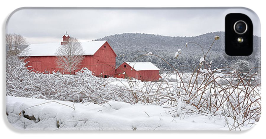 Old Red Barn IPhone 5 Case featuring the photograph Winter In Connecticut by Bill Wakeley