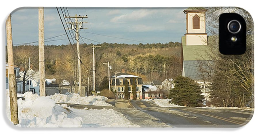 Town IPhone 5 Case featuring the photograph Winter In Round Pond Maine by Keith Webber Jr