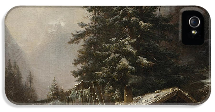 Winter IPhone 5 Case featuring the painting Winter Landscape With Figures Resting Near A Water Mill by Heinrich Hofer