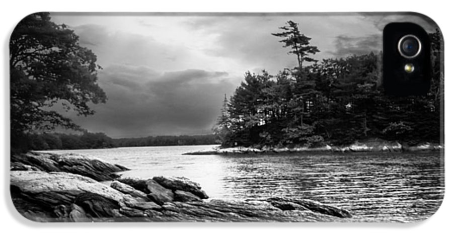 Shore IPhone 5 Case featuring the photograph Winter Moonlight Wolfes Neck Woods Maine by Bob Orsillo