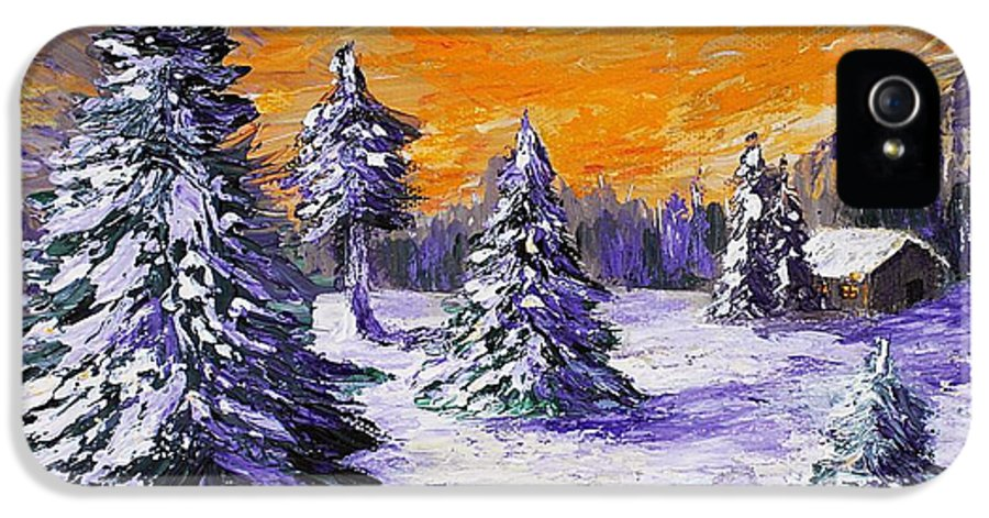 Stowe IPhone 5 Case featuring the painting Winter Outlook by Anastasiya Malakhova