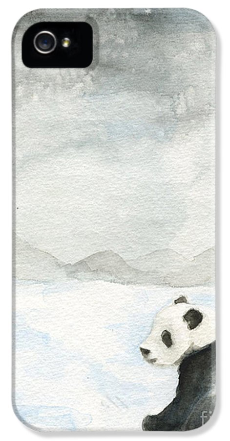 Winter IPhone 5 Case featuring the painting Winter Panda by Erica Vojnich