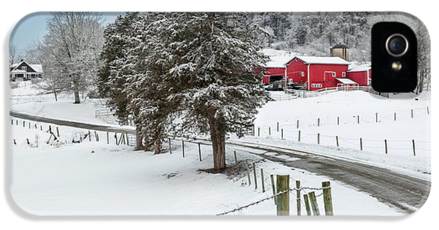 Old Red Barn IPhone 5 Case featuring the photograph Winter Road by Bill Wakeley