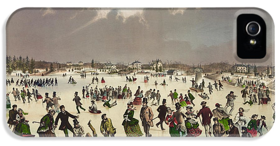Winter Scene IPhone 5 Case featuring the painting Winter Scene Circa 1859 by Aged Pixel