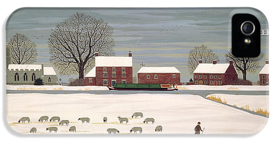 Windmill IPhone 5 Case featuring the painting Winter Scene In Lincolnshire by Vincent Haddelsey