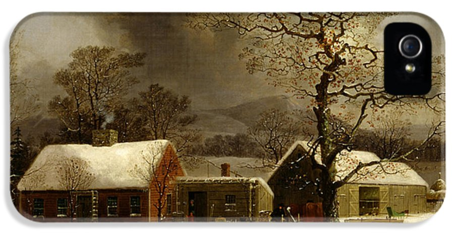 Painting IPhone 5 Case featuring the painting Winter Scene In New Haven Connecticut 1858 By Durrie by Movie Poster Prints