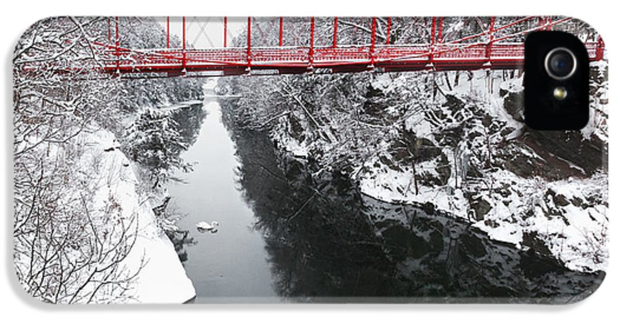Historic Bridge IPhone 5 Case featuring the photograph Winter Solitude Square by Bill Wakeley