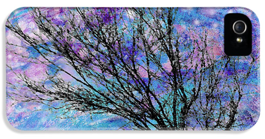 Starry IPhone 5 Case featuring the digital art Winter Starry Night Square by Ann Powell
