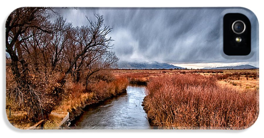 River IPhone 5 Case featuring the photograph Winter Storm Over Owens River by Cat Connor