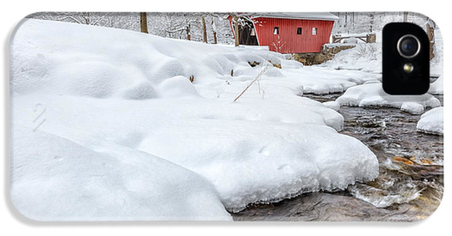 Covered Bridge IPhone 5 Case featuring the photograph Winter Stream by Bill Wakeley