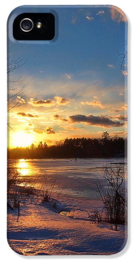 Winter Sunset IPhone 5 Case featuring the photograph Winter Sundown by Joann Vitali