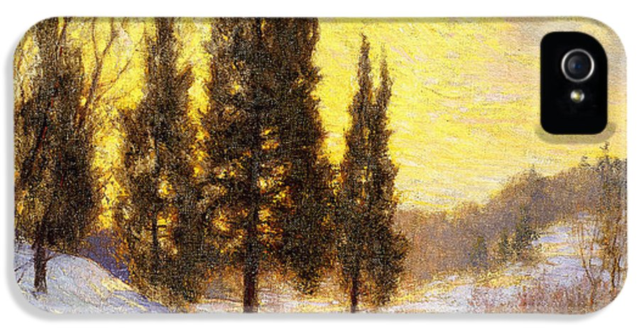 American IPhone 5 Case featuring the painting Winter Sundown by Walter Launt Palmer