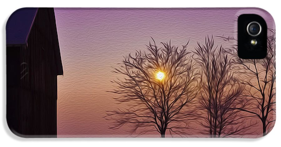 Winter IPhone 5 Case featuring the photograph Winter Sunset by Aged Pixel