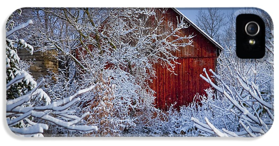 Barns IPhone 5 Case featuring the photograph Winter Warmth by Jeff Klingler