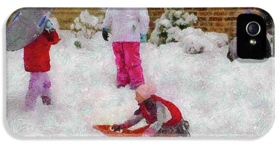 Snow IPhone 5 Case featuring the photograph Winter - Winter Is Fun by Mike Savad