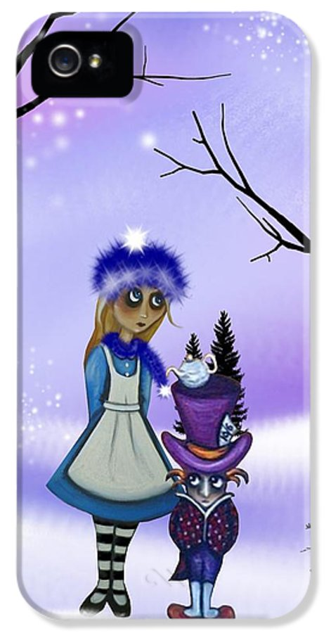 Alice In Wonderland IPhone 5 Case featuring the digital art Winter Wonderland by Charlene Murray Zatloukal