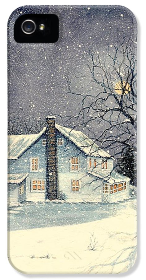 Farmhouse IPhone 5 Case featuring the painting Winter's Silent Night by Janine Riley