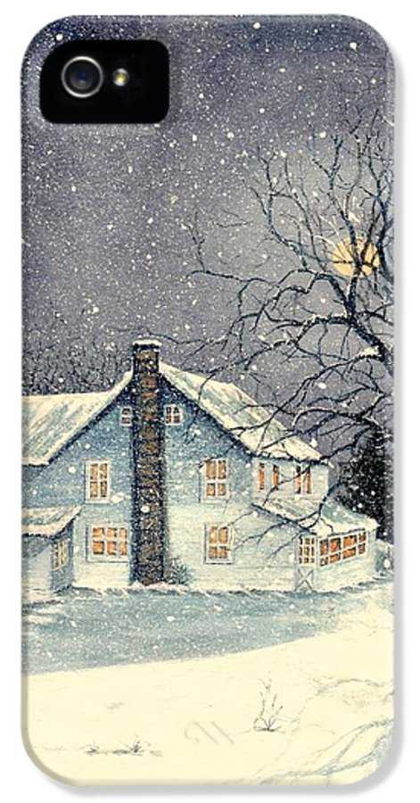 Old IPhone 5 / 5s Case featuring the painting Winter's Silent Night by Janine Riley
