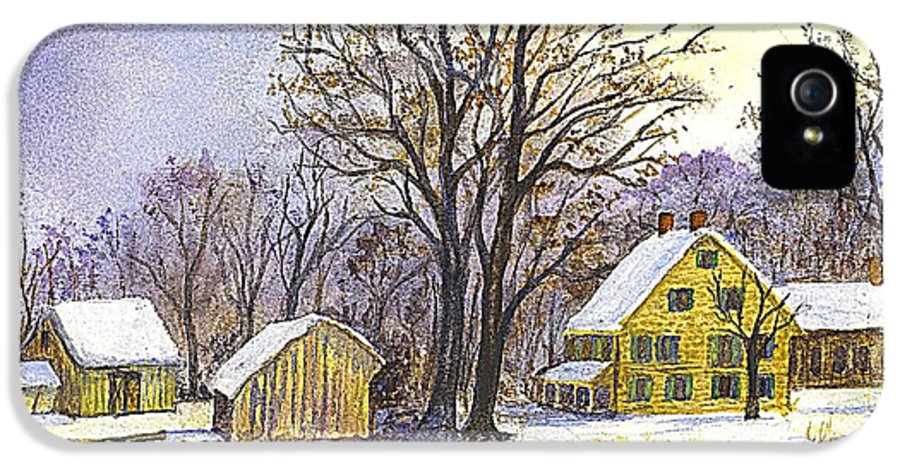 Christmas Cards IPhone 5 Case featuring the painting Wintertime In The Country by Carol Wisniewski