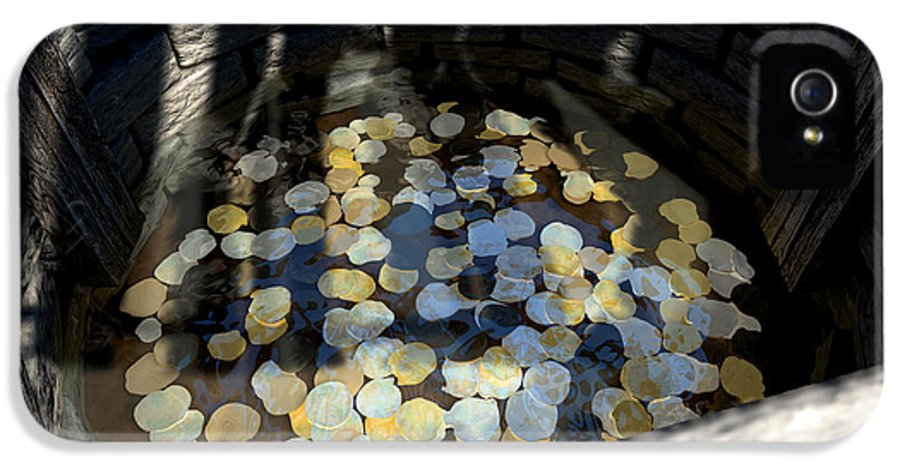 Wishing Well IPhone 5 Case featuring the digital art Wishing Well With Coins Perspective by Allan Swart