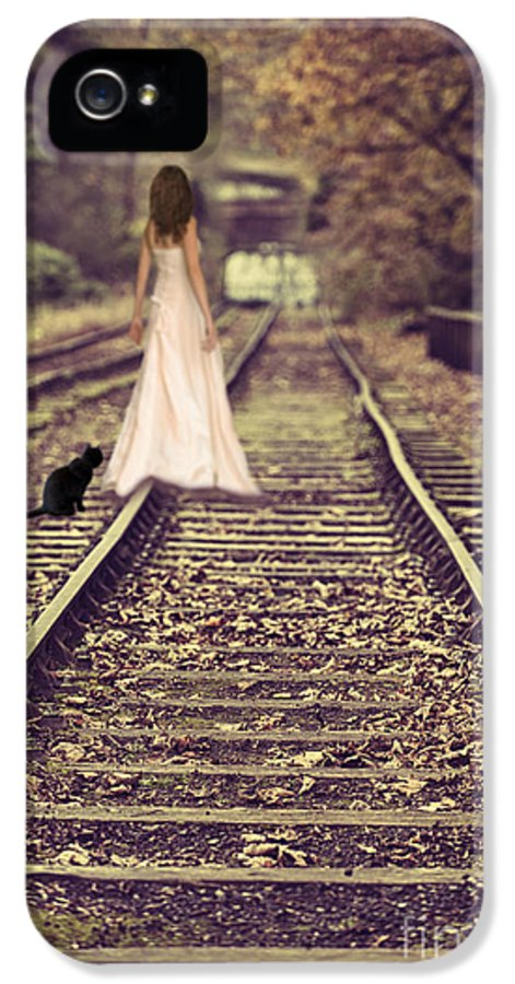 Woman IPhone 5 Case featuring the photograph Woman On Railway Line by Amanda Elwell