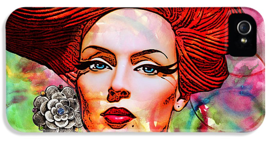 Redhead IPhone 5 Case featuring the mixed media Woman With Earring by Chuck Staley