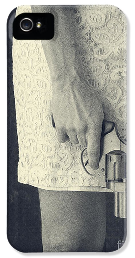 Pistol IPhone 5 Case featuring the photograph Woman With Revolver by Edward Fielding